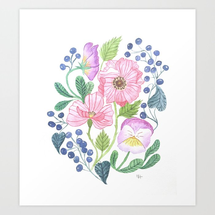 anemone and pansy Art Print