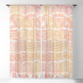 Wavy Tribal Lines with Shapes - White on Orange - Doodle Drawing Sheer Curtain