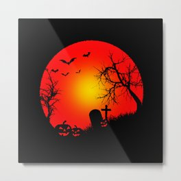 Scary Night Pumpkin Metal Print