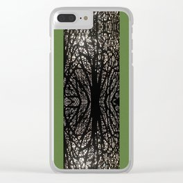 Gothic tree striped pattern green Clear iPhone Case