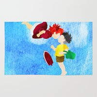 ponyo Area & Throw Rugs featuring Ponyo and Sosuke by foreverwars