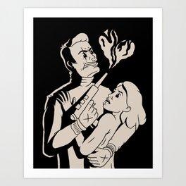 Laser gun love B&W Art Print