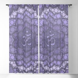 OM Symbol - Dot Art - purple palette Sheer Curtain