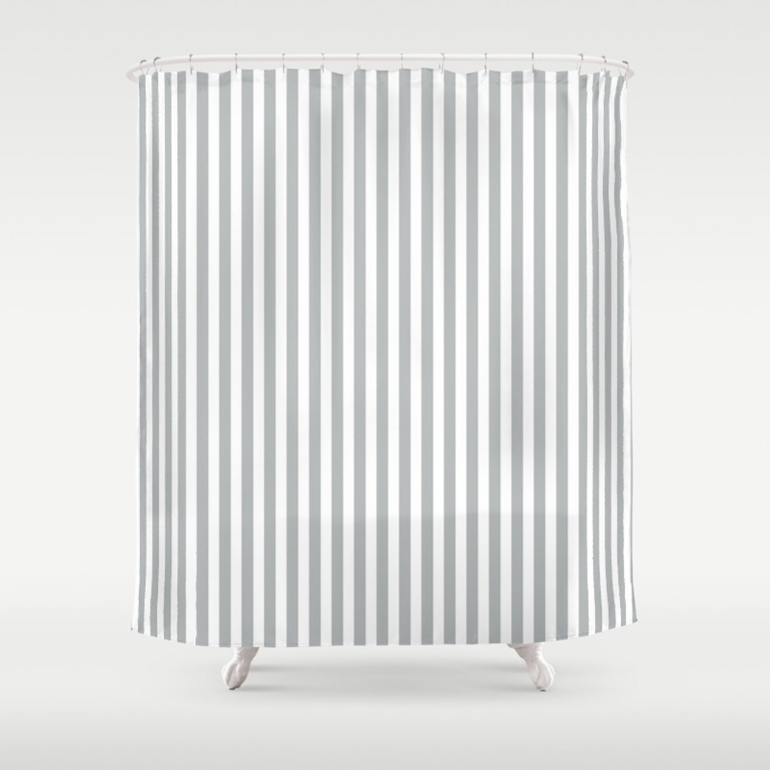 Silver Gray And White Vertical Pin Stripes Shower Curtain