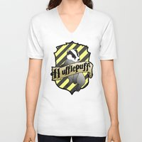 hufflepuff V-neck T-shirts featuring Hufflepuff Crest by AriesNamarie