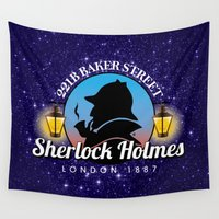 sherlock holmes Wall Tapestries featuring Sherlock Holmes Logo by Gary Grayson