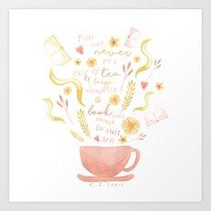Hard To Find Books And Tea Art Print