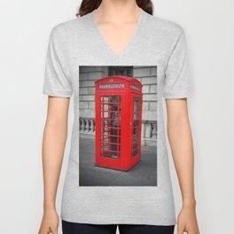 London Phone Booth Unisex V-Neck