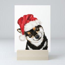 Christmas Black Shiba Inu Mini Art Print