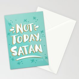 Not Today, Satan – Mint & Gold Palette Stationery Cards
