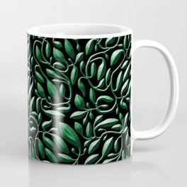 Dark Green Leaf Weave Coffee Mug