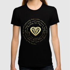 Irish Blessing & Celtic Heart LARGE Black Womens Fitted Tee