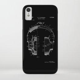 Headphones Patent - White on Black iPhone Case
