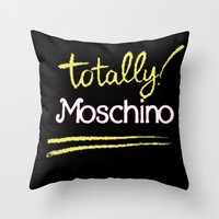 moschino Throw Pillows featuring Totally Moschino Black by RickyRicardo787