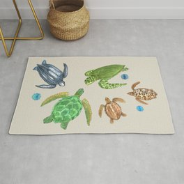 Sea Turtle Types Rug