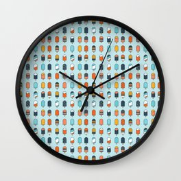 Popsicles blue background Wall Clock