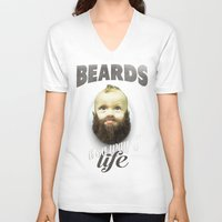 toddler V-neck T-shirts featuring Beard boy by HappyMelvin