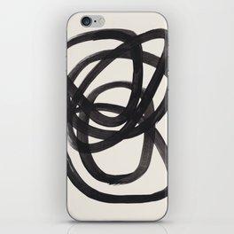 Mid Century Modern Minimalist Abstract Art Brush Strokes Black & White Ink Art Spiral Circles iPhone Skin