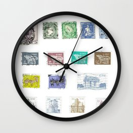 Vintage Ireland Postage Stamps Wall Clock