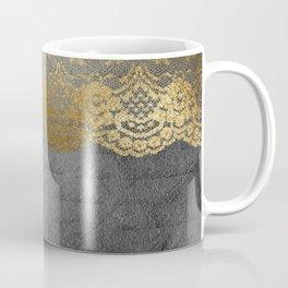 Pure elegance I- gold glitter luxury lace on black grunge background Coffee Mug