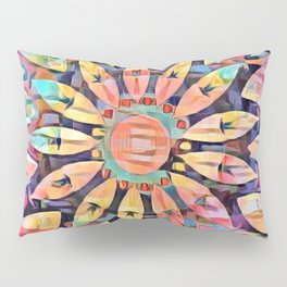 Cubistic Rainbow Flower Kaleidoscope Pillow Sham