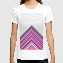 Wood and Bright Stripes, Chevron - Geometric Design T-shirt
