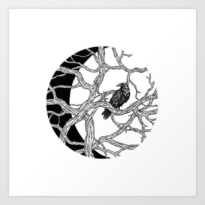 Moon Raven Kunstdrucke