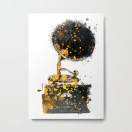 Gramophone music art gold and black #gramophone #music Metal Print