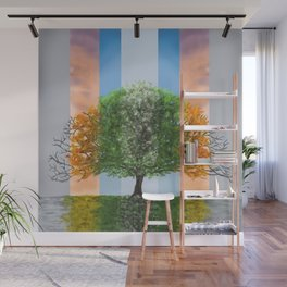 Digital painting of the seasons of the year in a tree Wall Mural