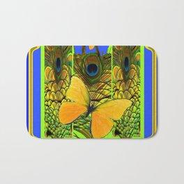 BLUE ART NOUVEAU YELLOW BUTTERFLIES GREEN ART Bath Mat