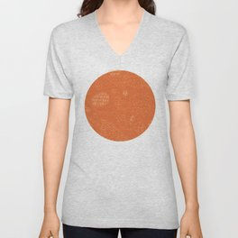 Curly Textured Abstract (Terracotta) Unisex V-Neck