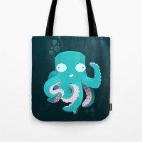 kraken Tote Bags featuring Kraken by Damien Mason