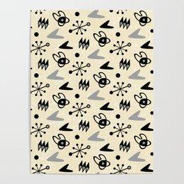 Mid Century Modern Atomic Boomerang Pattern Grey 101 Poster