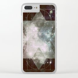 Galaxy Sacred Geometry: Dark Rhombic Hexecontahedron Clear iPhone Case