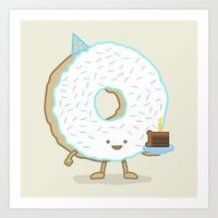 The Birthday Party Donut Art Print