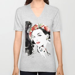 Classical Beauty, Fashion Painting, Fashion IIlustration, Vogue Portrait, Black and White, #12 Unisex V-Neck