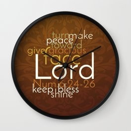 Christian Priestly Blessing Word Art on Damask Wall Clock