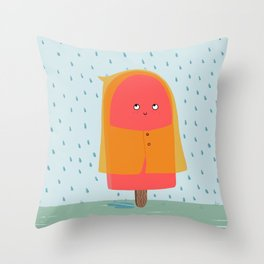 Ice lolly under the rain Throw Pillow
