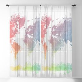 World Map splash 3 Sheer Curtain