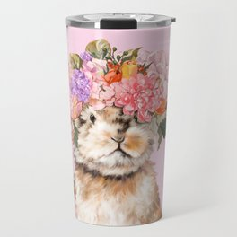 Rabbit with Flowers Crown Travel Mug