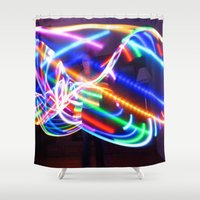 led zeppelin Shower Curtains featuring LED Hula Hooping by laurelkathleen
