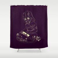 dark side Shower Curtains featuring Dark Side by yortsiraulo