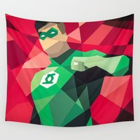 dc comics Wall Tapestries featuring DC Comics Green Lantern by Eric Dufresne