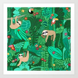 Sloths in the Emerald Jungle Pattern Art Print
