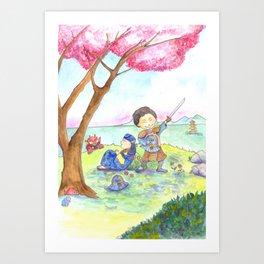 Two samurais on the hill Art Print