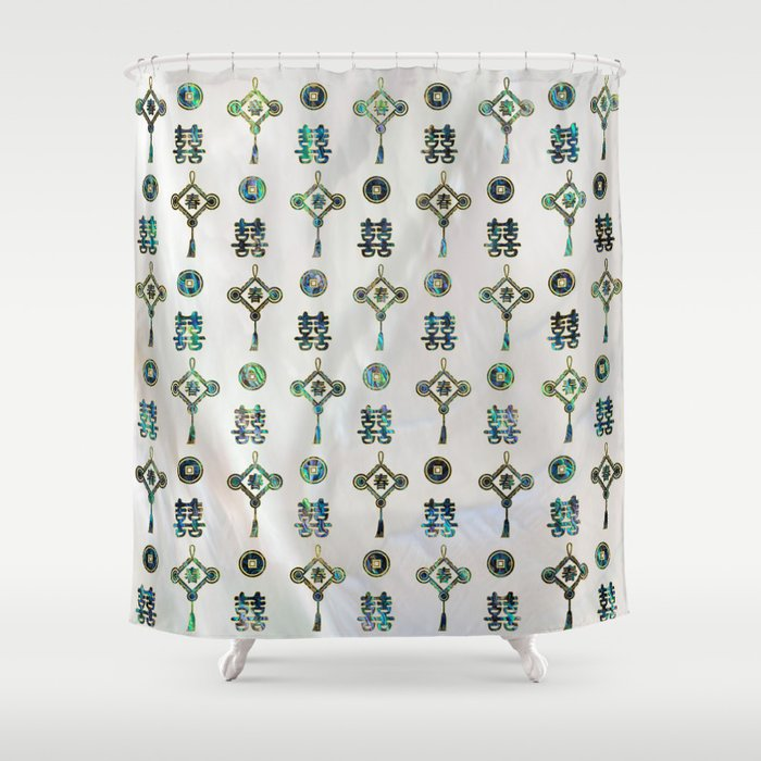 Gold And Abalone Shell Lucky Chinese Symbols Pattern Shower Curtain