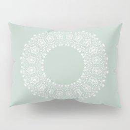 Floral Mandala on Light Greenish Gray Pillow Sham