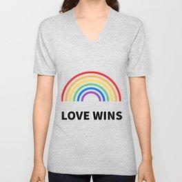LOVE WINS LGBTQ pride Unisex V-Neck