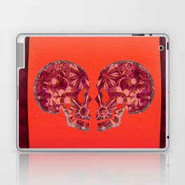 Deep Maroon and Vibrant Coral Boho Glow Skull Art Laptop & iPad Skin