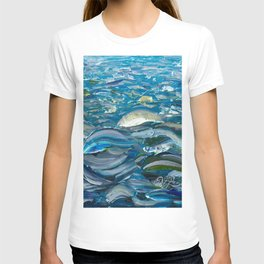 Original Oil Painting With Palette Knife On Canvas  Impressionist Roling Blue Sea Waves by OLena Art T-shirt